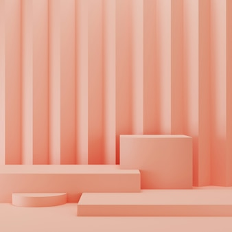 Pantalla de podio abstracto geométrico rosa 3d. concepto de estilo minimalista