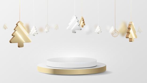Pantalla de podio de círculo de oro y plata de lujo 3d con elemento colgante de árbol de navidad. ilustración vectorial