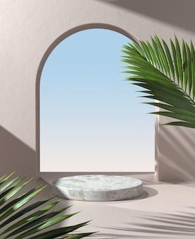 Pantalla de podio con follaje de palmeras de sombra de luz solar sobre fondo de pared de mortero beige 3d render