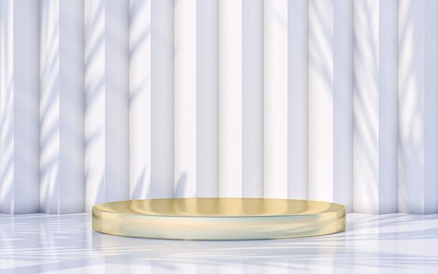 Pantalla de podio mínima con fondo de sombra de hojas abstractas. representación 3d