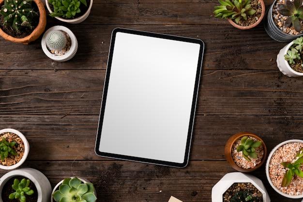 Pantalla de tableta digital en blanco en el fondo de plantas de interior