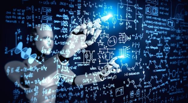Pantalla táctil de robot humanoide ai de fórmula matemática y ecuación científica