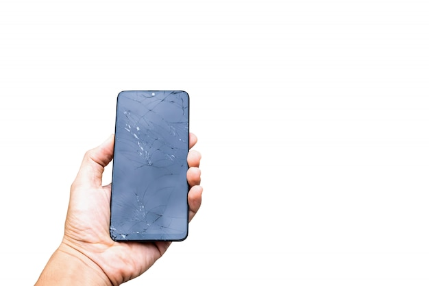 La pantalla del teléfono inteligente rompió la pantalla rota en el fondo blanco