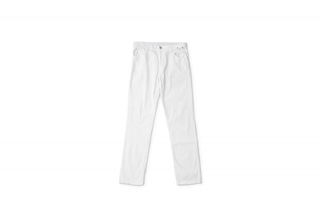 Pantalones blancos en blanco acostado, vista frontal