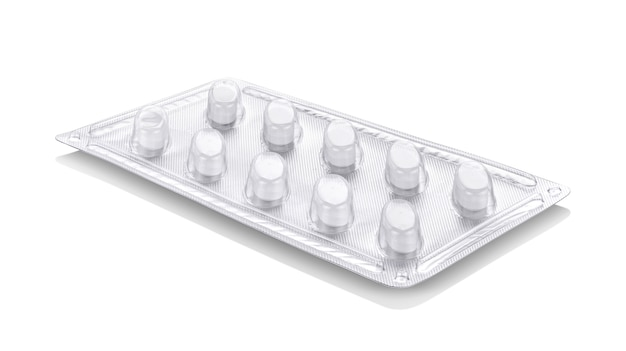 Papel de aluminio con blister de plástico de medicamentos o tabletas de suplementos.