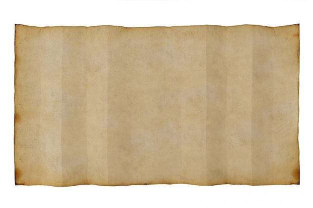 Papel en blanco antiguo viejo en el fondo blanco, representación 3d