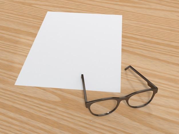 Papel en blanco y gafas sobre suelo de madera 3d rendering