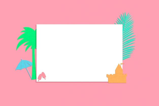 Papel en blanco con silueta de elementos de verano