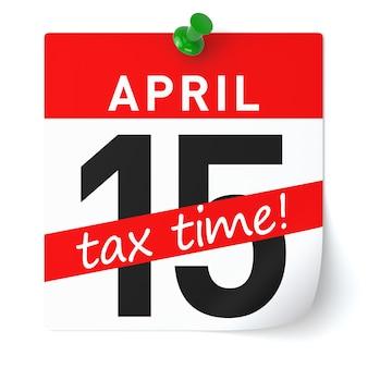 Papel de calendario de tiempo de impuestos. representación 3d aislada