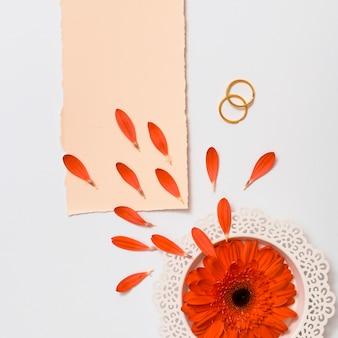 Papel cerca de anillos y flor fresca en placa