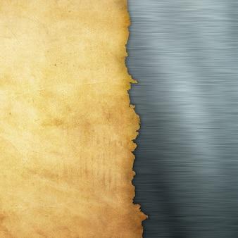 Papel de grunge sobre un fondo de metal cepillado