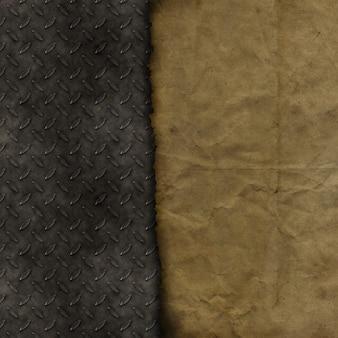 Papel de grunge sobre un fondo de textura metálica