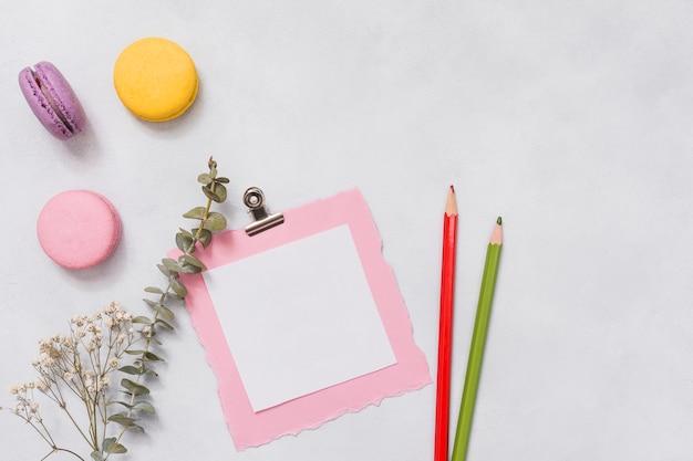 Papel con macarrones y rama de flores en mesa