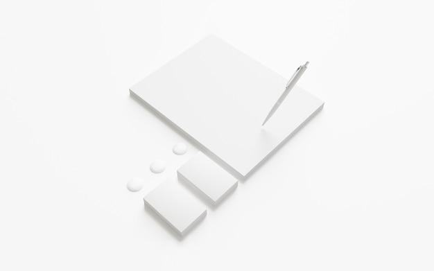 Papel con membrete en blanco y tarjetas de visita aisladas en blanco.