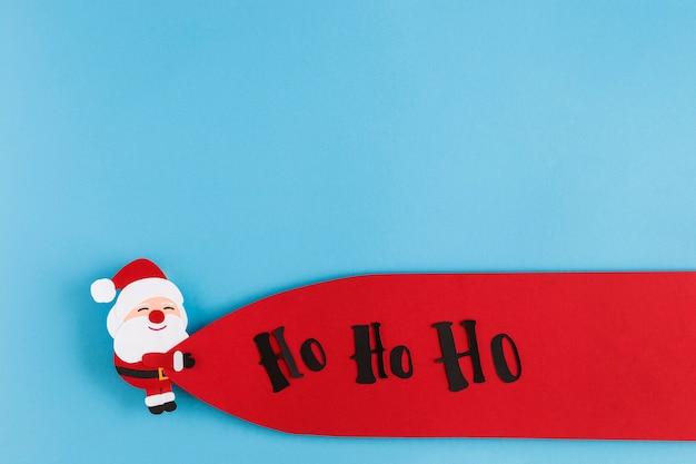 Papel navidad horizontal ho ho ho santa etiqueta