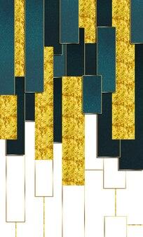 Papel pintado moderno abstracto 3d líneas doradas decorativas y mármol turquesa blanco y forma