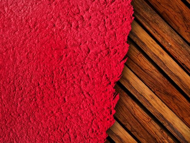 Papel rasgado con textura con fondo de madera
