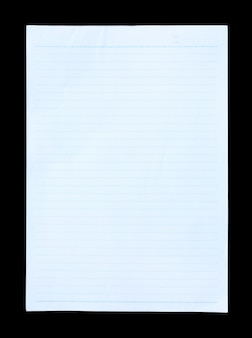 Papel rayado azul aislado sobre fondo negro