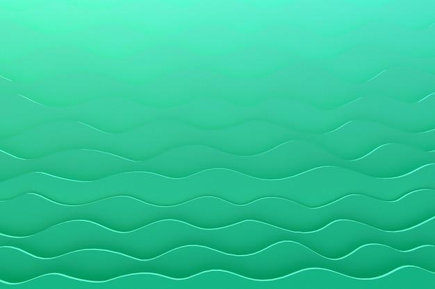 Papel de renderizado 3d corte onda patrón verde telón