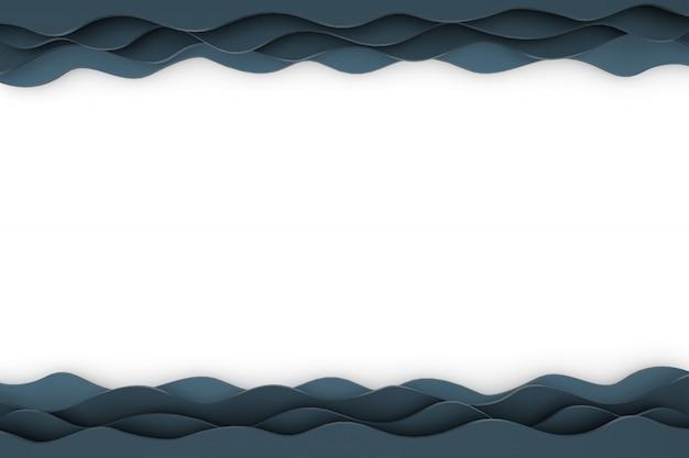 Papel de renderizado 3d corte patrón de onda telón de fondo negro para el fondo
