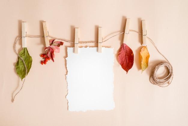 Papel para sus notas. tendencia de papel rasgado hojas de otoño en una línea de ropa sostenida por pinzas para la ropa. saúco y agracejo, frutos y hojas secas. tarjeta de otoño, endecha plana, vista superior. copyspace