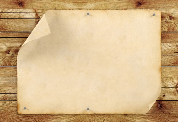 Papel viejo vintage en blanco sobre fondo de madera, representación 3d