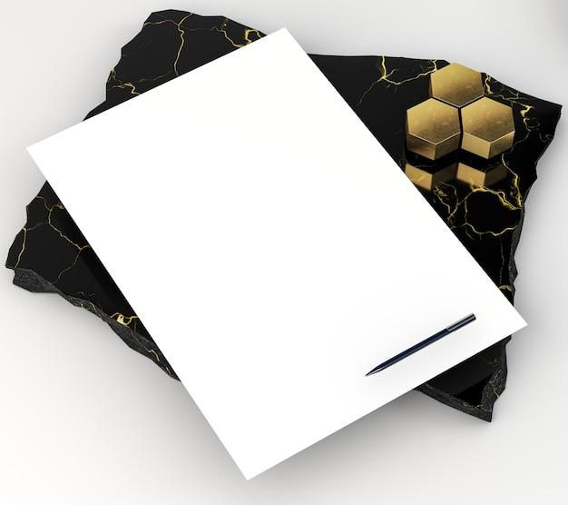 Papelería corporativa en blanco alta vista en mármol