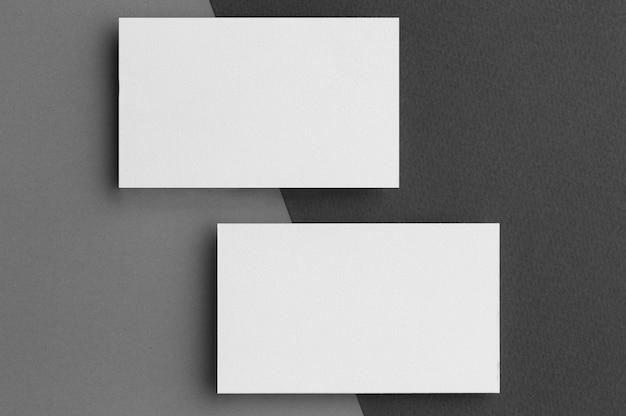 Papelería corporativa tarjetas de visita en blanco vista superior