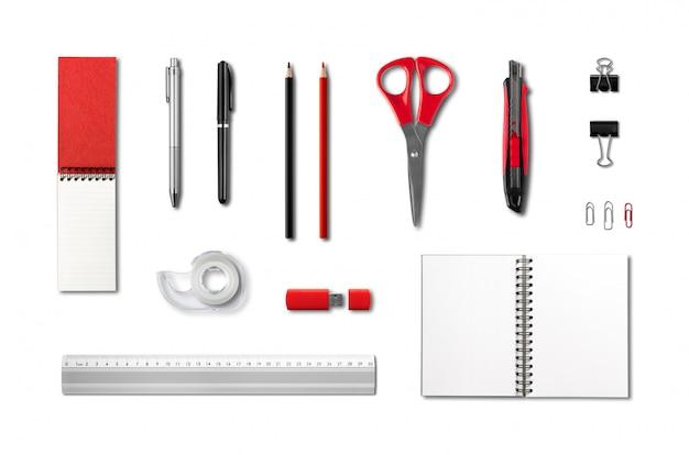 Papelería, plantilla de maqueta de suministros de oficina, fondo blanco.