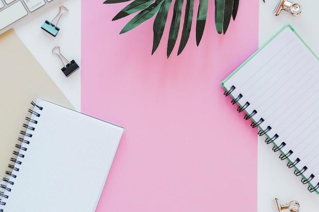 Papeles y cuadernos cerca de hojas de palma y teclado