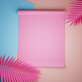 Papeles rosas y azules con hojas de palma rosadas
