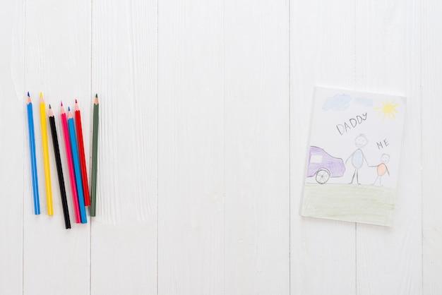 Papi y yo inscripción con lápices brillantes.