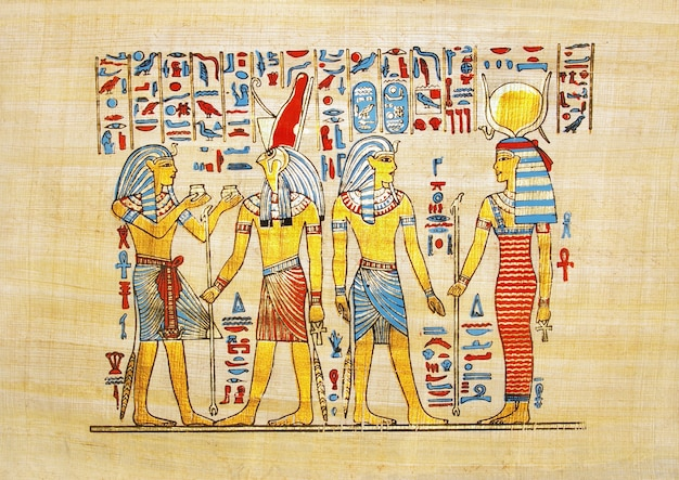Papiro tradicional egipcio hecho a mano con escena