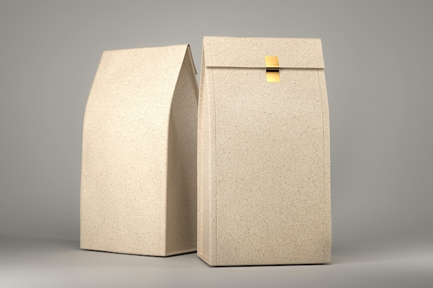 Paquete de bolsa de comida artesanal aislado render 3d