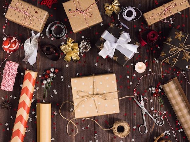 Paquete de caja de regalo de navidad año nuevo navidad embalaje papel de envolver,