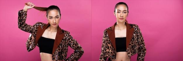 Paquete de collage de grupo retrato de mujer de negocios asiática viste traje blanco formal adecuado, tiene un aspecto inteligente y seguro, iluminación de estudio fondo rosa aislado, acto de abogado jefe posando sonrisa mirada inteligente