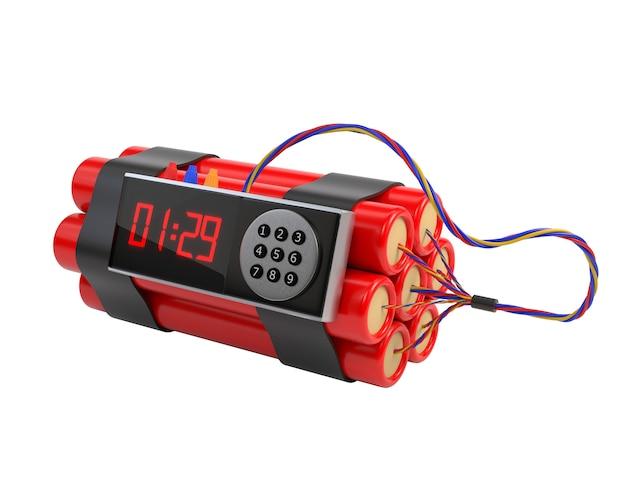 Paquete de dinamita y mecanismo del reloj aislado en el fondo blanco.