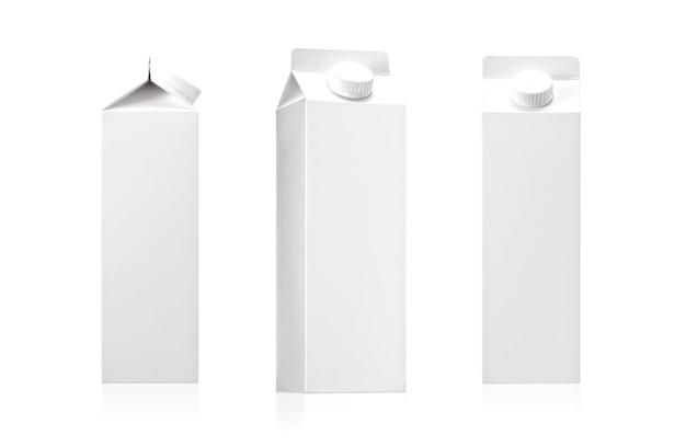Paquete de leche, paquete de jugo con espacio en blanco para texto y diseño gráfico aislado en blanco