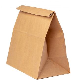Paquete de papel artesanal para alimentos aislado