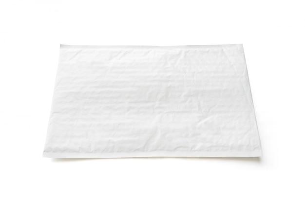 Paquete postal blanco. fondo de objeto de paquete de plástico.