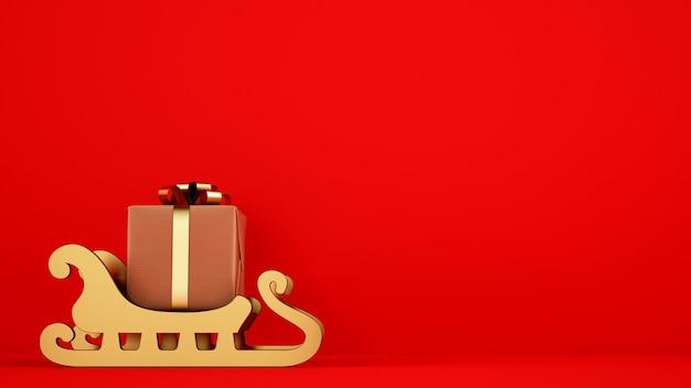 Paquete de regalo de navidad aislado en trineo dorado con fondo rojo.