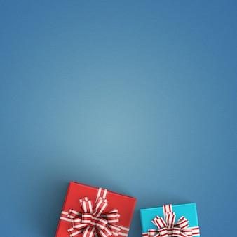 Paquetes de regalo sobre un fondo azul