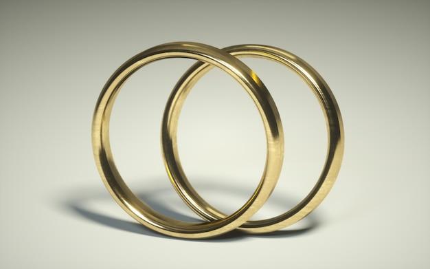 Par de un anillo de bodas de oro 3d. alianzas. anillos de relación sobre un fondo blanco