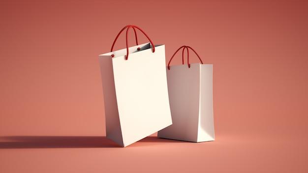 Par de bolsas de compras rojo