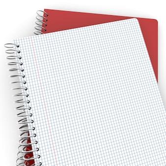 Un par de cuadernos, uno cerrado y el otro abierto con páginas a cuadros.