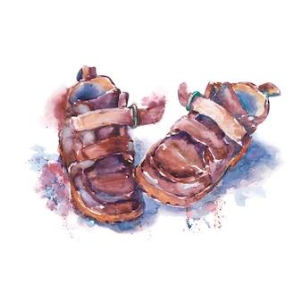 Par de zapatos para niños con costuras de velcro