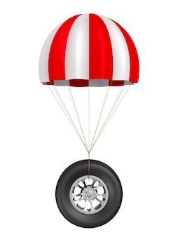Paracaídas y rueda en espacios en blanco. ilustración 3d aislada