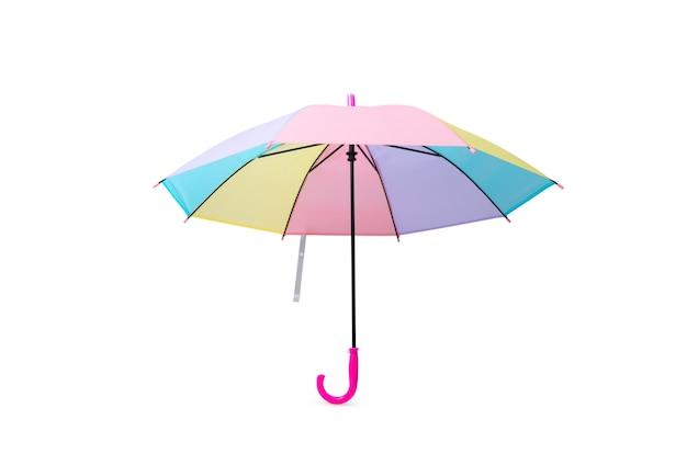 Paraguas de color pastel o color del arco iris sobre fondo blanco aislado