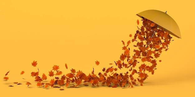 Paraguas con hojas caídas ilustración 3d espacio de copia viento moviendo hojas secas bajo un paraguas