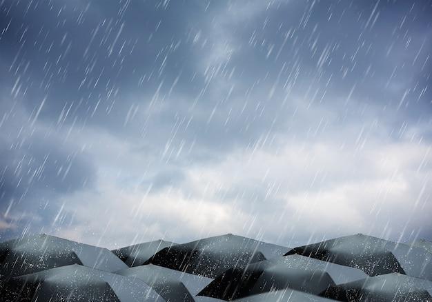Paraguas bajo lluvia y tormenta